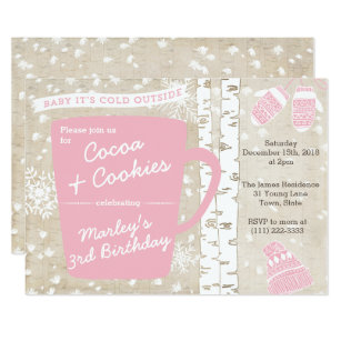 Hot Chocolate Winter Birthday Party For Invitation