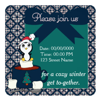 Hot Chocolate with Marshmallows Penguin Gift Box 5.25x5.25 Square Paper Invitation Card