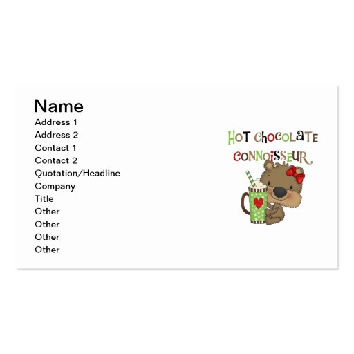 Hot ChocolateConoisseur Girl Bear Double-Sided Standard Business Cards (Pack Of 100)