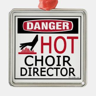 Hot Choir Director Square Metal Christmas Ornament