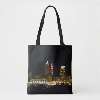 Hot Cleveland Night Printed Tote Bag