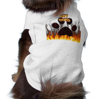 Hot CoCo fire and flame dog shirt.