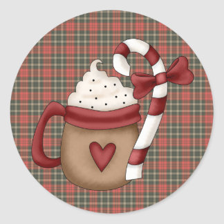hot cocoa and candy cane classic round sticker