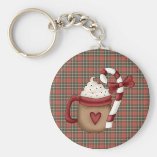 hot cocoa and candy cane basic round button keychain