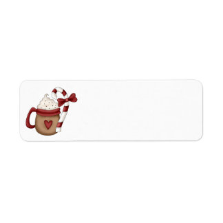 hot cocoa and candy cane label