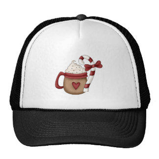 hot cocoa and candy cane mesh hat