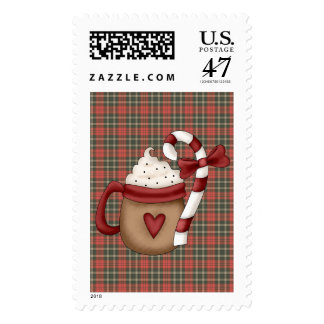 hot cocoa and candy cane postage