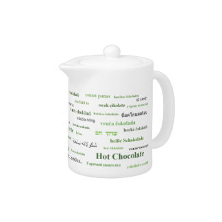 Hot cocoa in many languages teapot - Green