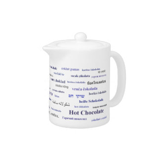 Hot cocoa in many languages teapot - purple blue