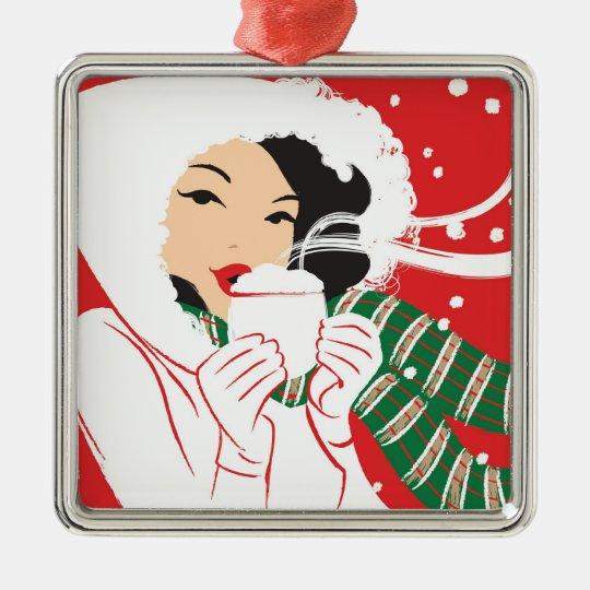 Hot Cocoa Premium Square Ornament