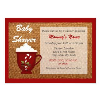Hot Cocoa Winter Baby Shower Invitation - Red