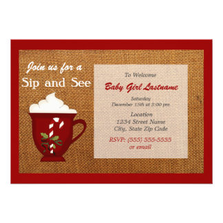 Hot Cocoa Winter Sip and See Invitation - Red