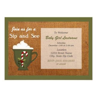 Hot Cocoa Winter Sip and See Invitation - Sage