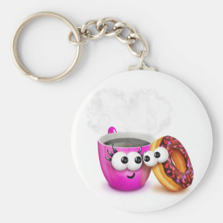 Hot Coffee And A Donut Keychain