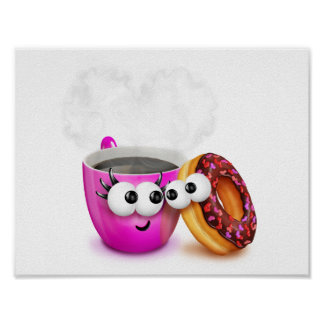 Hot Coffee And A Donut Poster