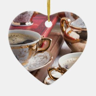 Hot coffee and retro crockery for breakfast ceramic ornament
