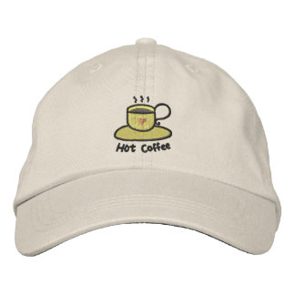 Hot coffee (black outline) embroidered baseball hat
