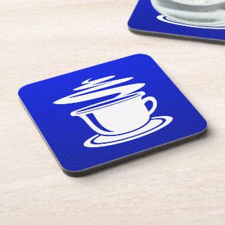 Hot Coffee; Blue Beverage Coasters