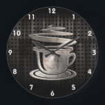 "Hot Coffee; Cool Large Clock<br><div class=""desc"">Cool grunge industrial metal look hot coffee cup chocolate cocoa design. Great for gifts! Available on tee shirts, smart phone cases, mousepads, keychains, posters, cards, electronic covers, computer laptop / notebook sleeves, caps, mugs, and more! Visit our site for a custom gift case for Samsung Galaxy S3, iphone 5, HTC...</div>"
