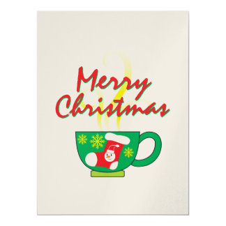 Hot Coffee Cup w/ Merry Christmas Invitation Cards