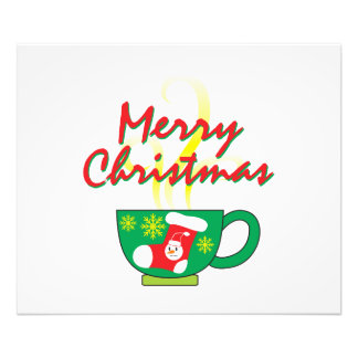 Hot Coffee Cup w/ Merry Christmas Invitation Cards Photographic Print