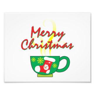 Hot Coffee Cup w/ Merry Christmas Invitation Cards Art Photo