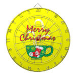 Hot Coffee Cup with Merry Christmas Greeting Cards Dartboard With Darts