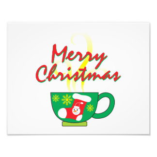 Hot Coffee Cup with Merry Christmas Greeting Cards Photo Print