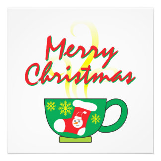 Hot Coffee Cup with Merry Christmas Greeting Cards Art Photo