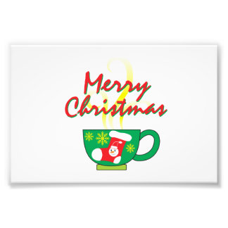 Hot Coffee Cup with Merry Christmas Greeting Cards Photo Art