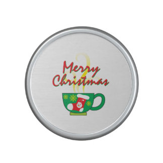 Hot Coffee Cup with Merry Christmas Greeting Cards Speaker