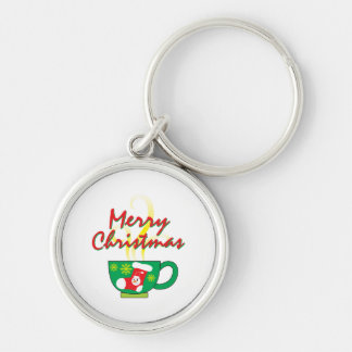 Hot Coffee Cup with Merry Christmas Hat Button Bag Key Chain