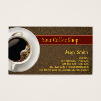 Hot Coffee Damask Brown Business Card