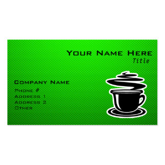 Hot Coffee; Green Double-Sided Standard Business Cards (Pack Of 100)