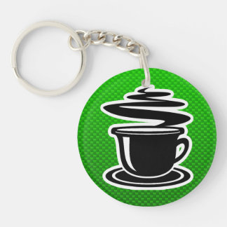 Hot Coffee; Green Double-Sided Round Acrylic Keychain