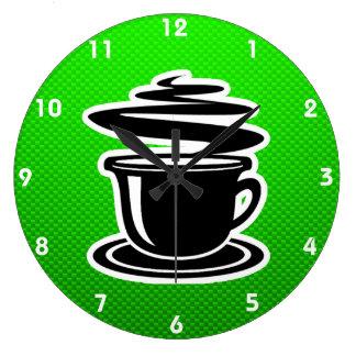 Hot Coffee; Green Large Clock