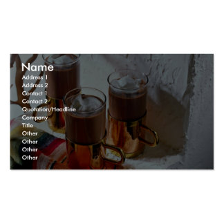 Hot coffee in handy glass mugs business cards