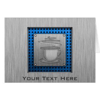Hot Coffee; Metal-look Greeting Card