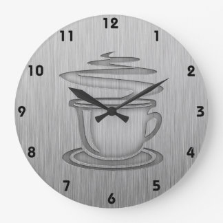 Hot Coffee; Metal-look Large Clock