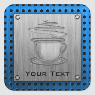 Hot Coffee; Metal-look Square Sticker