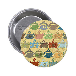 HOT COFFEE OR TEA 2 INCH ROUND BUTTON