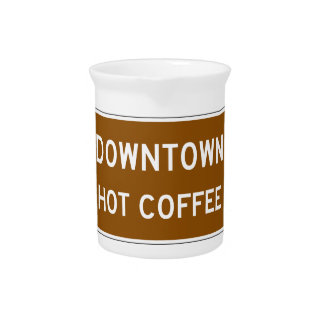 Hot Coffee, Road Marker, Mississippi, USA Pitcher