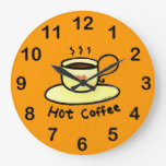 hot coffee round clock