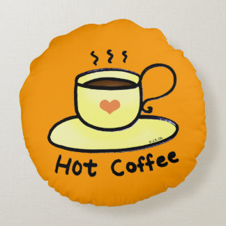 hot coffee round pillow