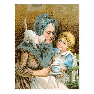 Hot Coffee Royal Java Vintage Drink Ad Art Postcard