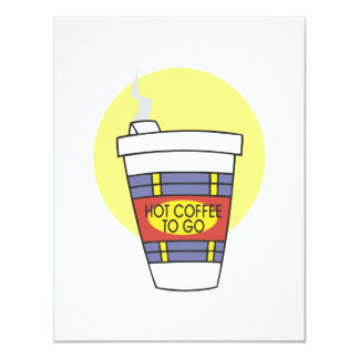 hot coffee to go 4.25x5.5 paper invitation card
