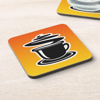 Hot Coffee; Yellow Orange Beverage Coaster