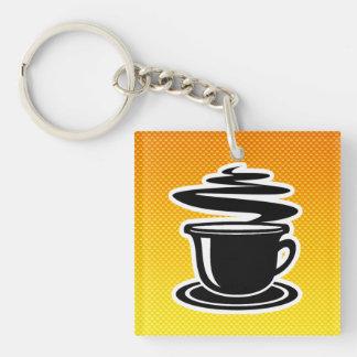 Hot Coffee; Yellow Orange Double-Sided Square Acrylic Keychain