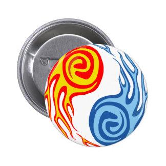 Hot & Cold - Fire & Water Yin Yang Tattoo Pins