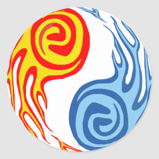 Hot & Cold - Fire & Water Yin Yang Tattoo Classic Round Sticker
